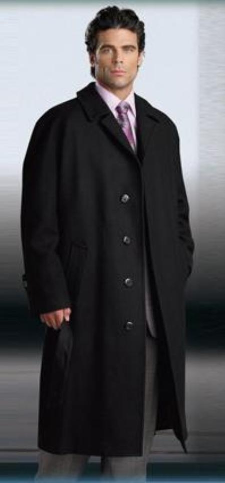 SKU#Florance Single Breasted 3 Button Jet Black Mens Full Length Wool&Cashmere Overcoat $249