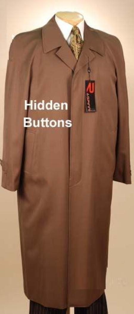 SKU#Florance Hidden Button Tobacco~Copper Mens Full Length Overcoat Wool&Cashmere Fully Lengh Coat