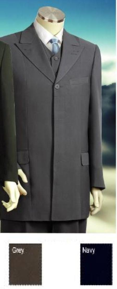 SKU#8227 Hidden Buttons Fashion Vested Peak Lapel Suit in Gray/Navy Blue/Gold $199