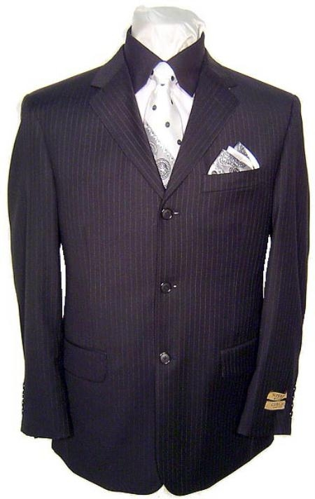 SKU# MU44 High End 3 Buttons Black & Small Pinstripe Super 140s Wool Business Suits