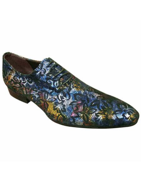 7aed6c178589a Mens high fashion purple & Multicolor floral designed Zota Mens Unique  Dress Shoes Unique Zota Mens Dress Shoe