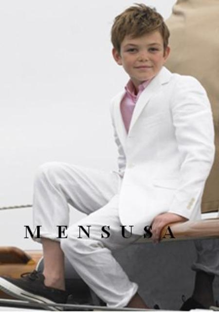 SKU# MUB8 High Quality Boys Snow White 3 Buttons Worsted Light Weight Dress Formal Suit $79