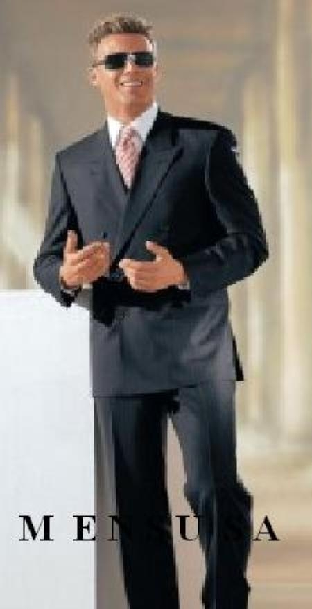 SKU# VG872 High Quality Double Back Vent Double Breasted Worsted Vergin Wool Charcoal Gray Suit $179
