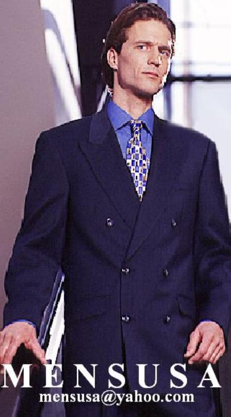 SKU# VG873 High Quality Double Back Vent Double Breasted Worsted Vergin Wool Dark Navy Blue Suit $199