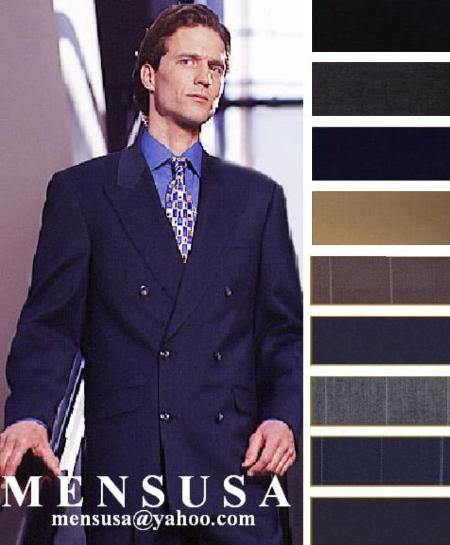SKU# VG873 High Quality Double Back Vent Double Breasted Worsted Virgin Wool Comes in 10 Colors