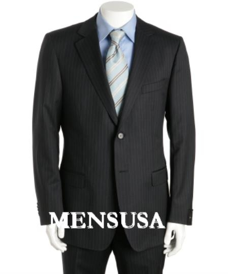 SKU# ZT02 High Quality Fitted Slim Cut Black & Small Gray Pinstripe Business Suit  $186