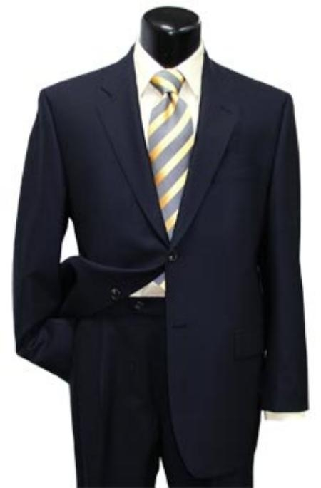 SKU# AB404 High Quality Mens Dark Navy Blue 2 Button Super Wool Suit $139