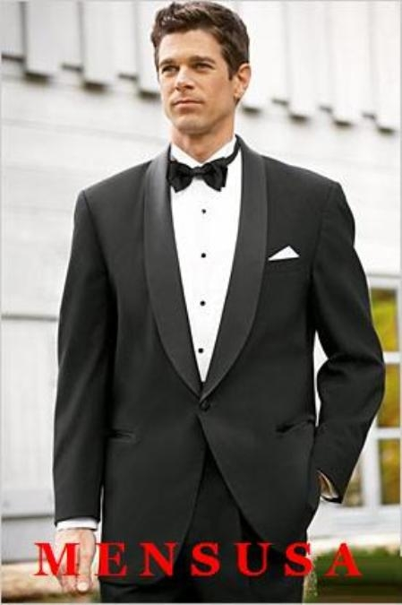 SKU# MT1S High Quality Mens One button Shawl Tuxedo Made of Worsted Vergin Wool