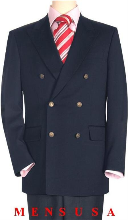 SKU# BON368 High Quality Navy Blue wool Double Breasted Blazer With Peak Lapels, Buttonhole