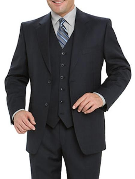 SKU# 771 High Quality Navy Blue 2 Button Vested 100% Wool Mens Suits Notch lapel Vented
