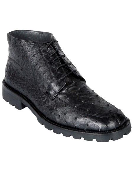 Buy GD451 Los Altos Men's Genuine Ostrich Dress Ankle Boots High Top Shoes Rubber Sole