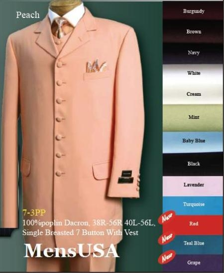SKU# 4471 High Vest 7 Buttons SUIT 3PC FASHION ZOOT WITH VEST Cover Buttons Comes in 7 Colors $159