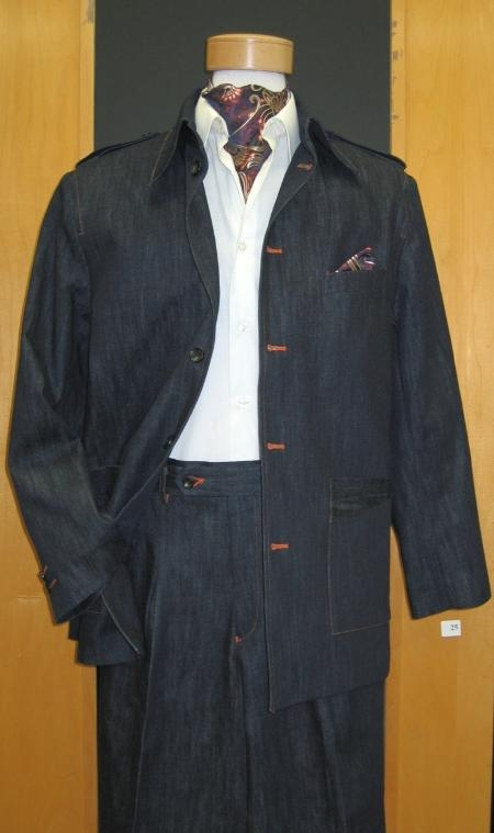 SKU#AL981 High Collar Blue Denim 2 Piece Leisure Suit $169