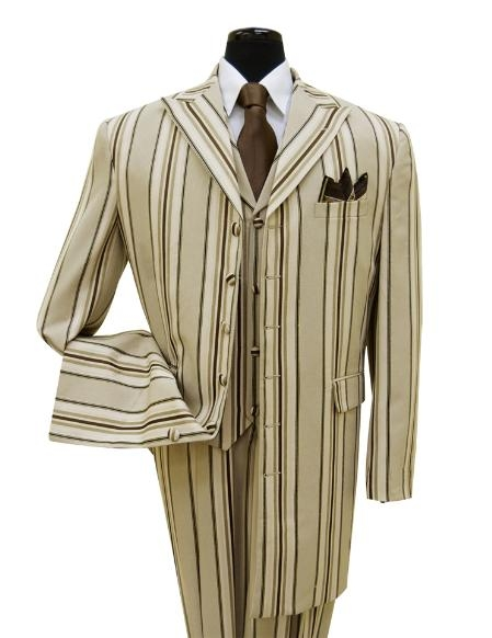 SKU#SD5742 High-End Fashion Men Suit Bold Pronounce Style Comes in Tan $139