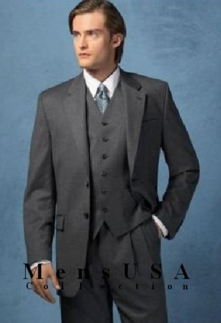 SKU#MANA_302 High Quality 2 Button Solid Charcoal Gray Vested Suits 100% Wool Super 140