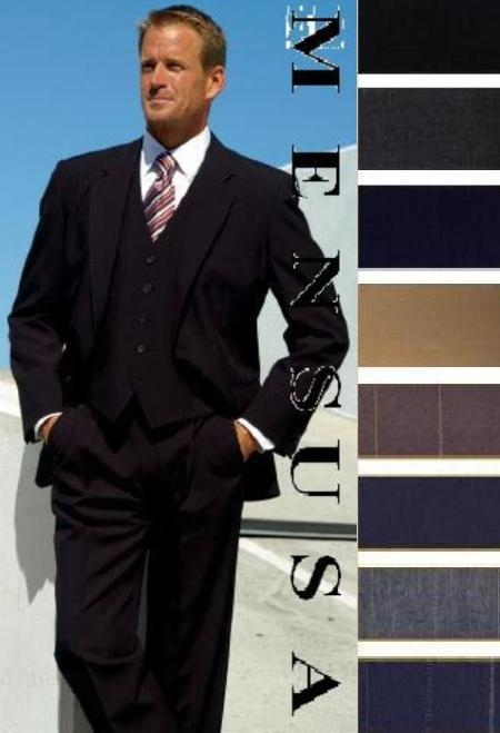 SKU# 771 High Quality 2 Button Solid Colors Vested 100% Wool Mens Suits Comes in 5 Colors $179