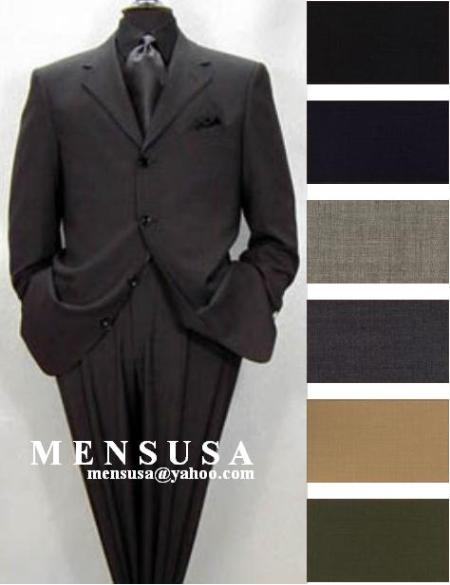 SKU#ZX33 High Quality 4 Button Solid Colors Pleated Pants 100% Worsted Wool