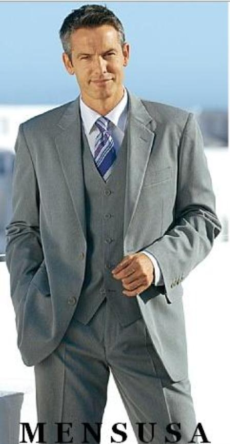 SKU#9871exclusive High Quality Clowdy Mid Gray 2 Button Vested 100% Wool Mens Suits Notch lapel Vent $169