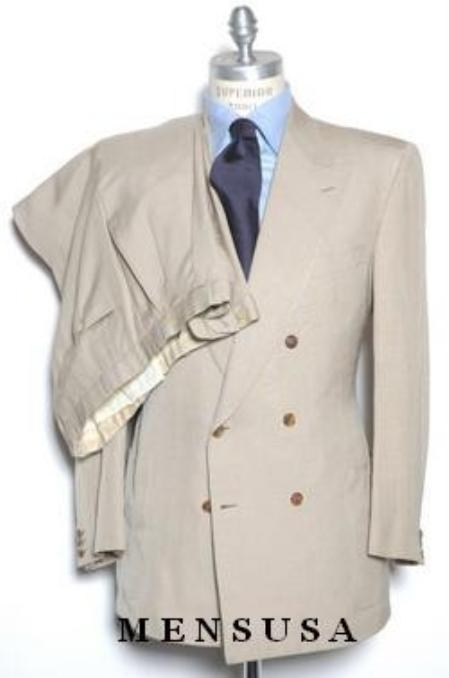 SKU#ZT17 High Quality Double Back Vent Double Breasted Worsted Vergin Wool Dark Cofee~Tan~Beige Suit $199