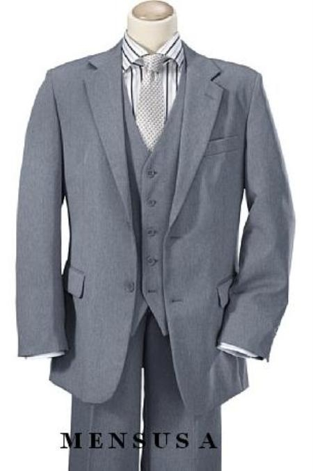 SKU#B8771 High Quality Mid Gray 2 Button Vested 100% Wool feel poly~rayon Mens Suits Notch lapel Vented
