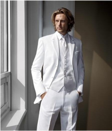 SKU#BL2 High Quality Satin Notch Lapels White Tuxedo With Vest  $150
