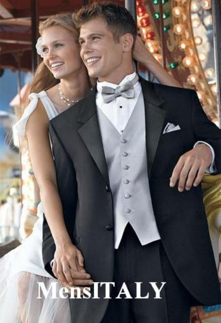SKU# 7782  High Quality Umo 2-Button Super 120s Wool tuxedo suits + Shirt + Silver Gray + Bow Tie $195