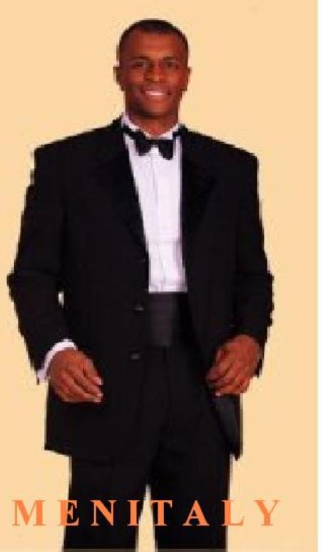SKU# MSA301 $775 High Quality Umo 3-Button Super 120s Wool Tuxedo + Shirt + Bow Tie + Cummerbund and Bowtie Set $235