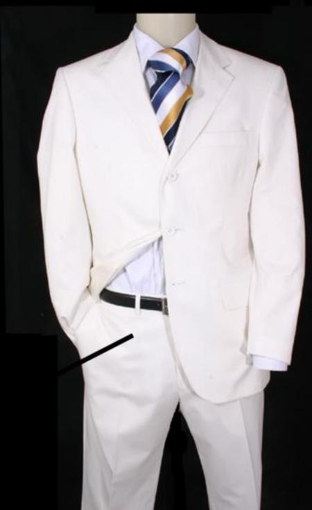 SKU#EMIL_T63  Highest Quality 3 Button White suit + vest $165