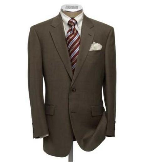 SKU# PJ8 High-quality construction Two-Button Dark Brown Super Soft Wool Center Vent Suit $175