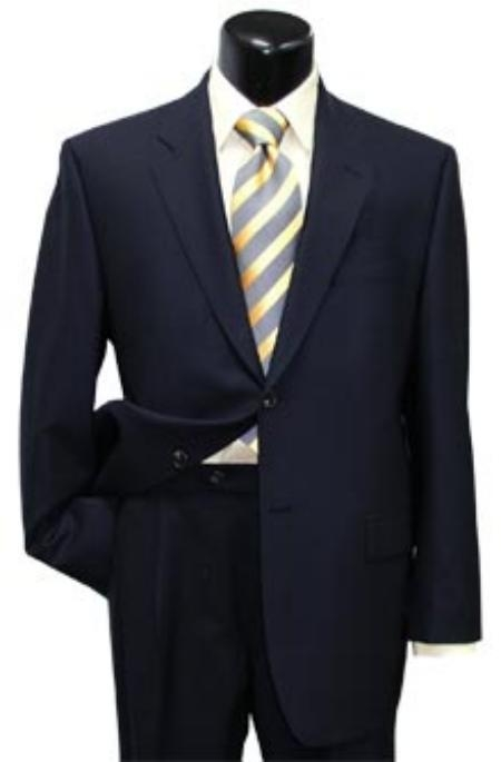 SKU# PJ8 High-quality construction Two-Button Dark Navy Blue Super Soft Wool Center Vent Suit $225