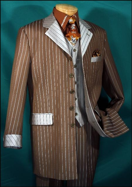 SKU#ER345 Honey Brown  Luxurious wool feel  Single breasted  5 button  Contrast vest Bold vest