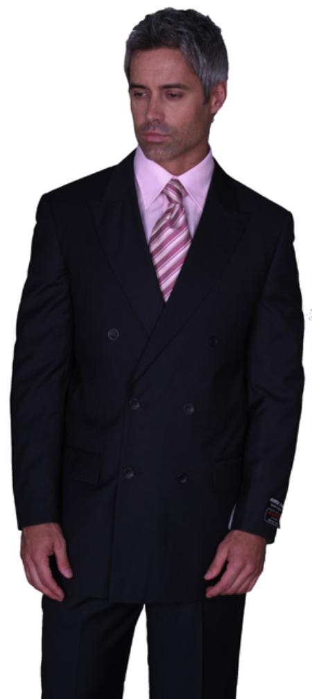 SKU# SHA345 JPR-27 SOILD BLACK DOUBLE BREASTED SUPER 150S WOOL SUIT HAND MADE $179