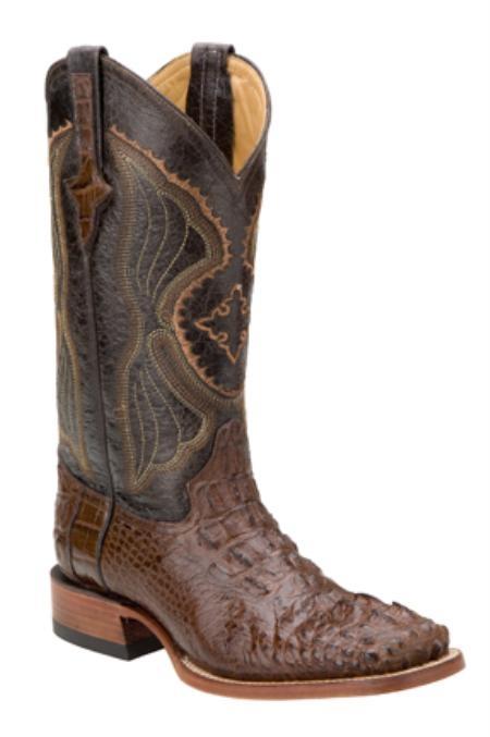SKU#HA1297 Hornback Alligator - Chocolate-S Toe