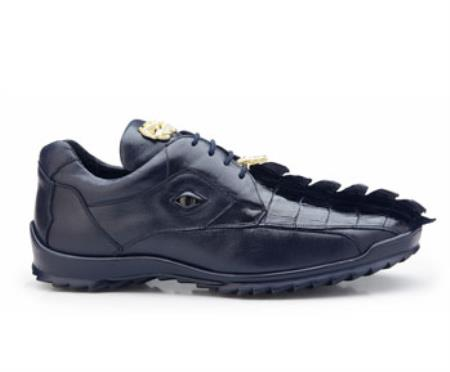 Authentic Belvedere Exotic Skin Brand Genuine Night Blue  Hornback Crocodile and Soft Calf Leather Lining Shoe