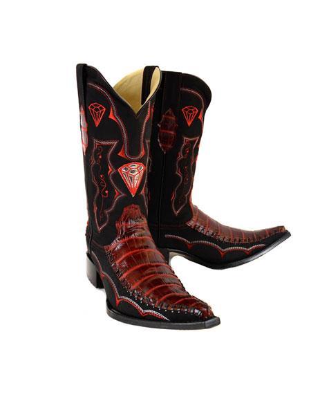 197f0232ab Mens Bota Vaquera Hombre Piel Coco Panza Imitacion Dress Shoes Rojo Color