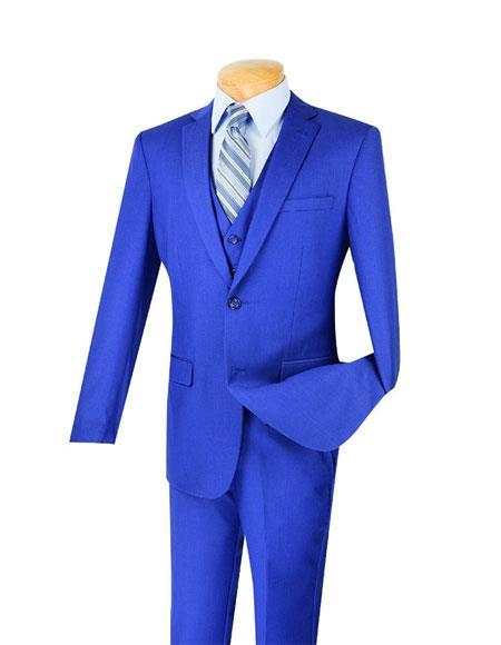 Mens Indigo ~ Bright Blue Poly/Rayon 3 Piece Slim Fit Notch Lapel Suit With Flat Front Pants