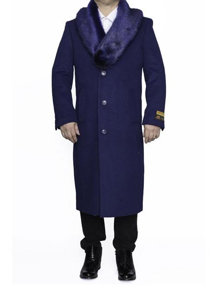 Mens 3 Button Removable Fur Collar Full Length Topcoat Sale