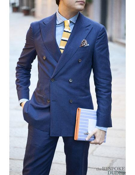 Mens Double breasted Teal ~ Indigo ~ Bright Blue ~ Ink Blue regular cut 2 piece Slim Fit suit pleated pants