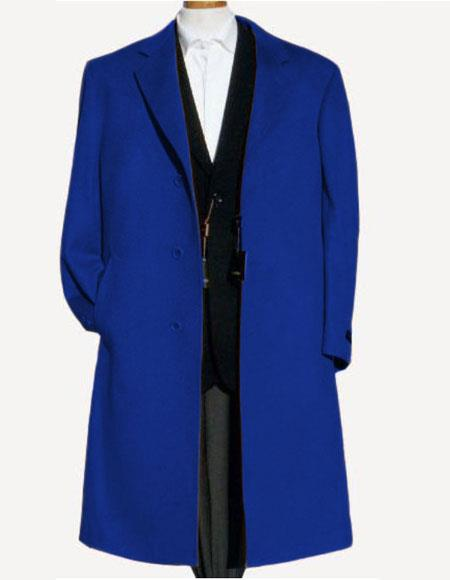Royal Blue ~ Indigo ~ Saphire ~ Bright Blue Soft Wool Overcoat Winter Men's Topcoat Sale