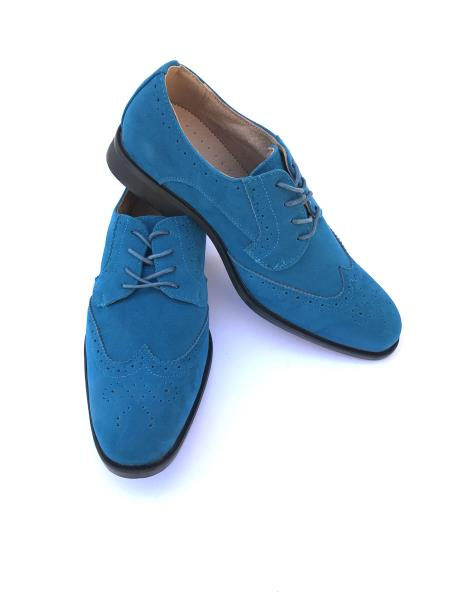 Mens Cap Toe Lace Up Style Indigo ~ Bright Blue~ Turquoise ~ Teal Dress Shoes Wingtip