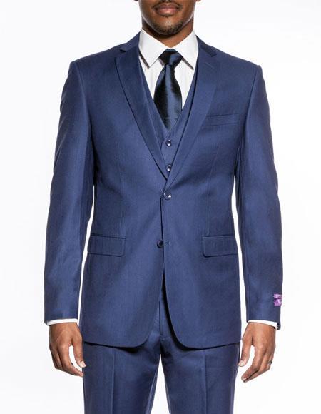 Men's Indigo ~ Bright Blue 3 piece slim fit wedding prom vested suit