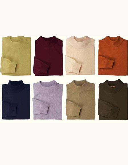 Buy GD822 Men's Inserch Mock Neck High Collar Pullover Sweater