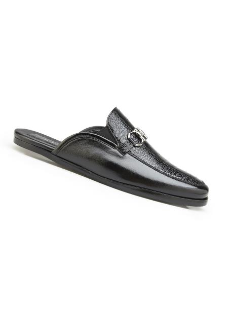Sku Sm4987 Men S Black Genuine Ostrich And Italian Calf Leather Lining Shoes