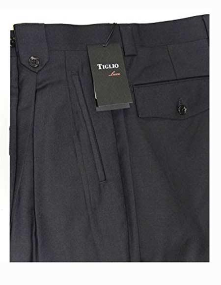 Buy SM2516 Tiglio Men's Wide Leg Grey Fine 100% Wool Italian Style Dress Pant