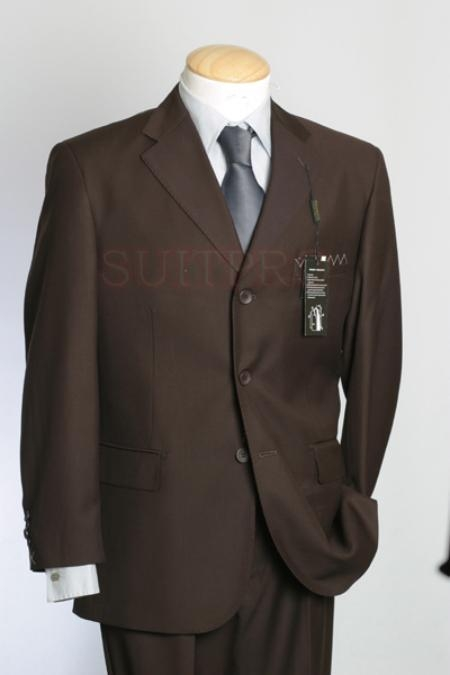 SKU#PB3 Italian Super 150s 100% Wool Developed by NASA Brown Pick Stitch Suit $149