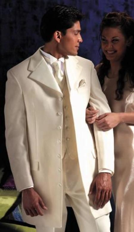 "SKU#106 Ivory~OFF White~Cream Tuxedo 35.5"" Length Coat Large Satin Notch Lapels Seven Button $199"