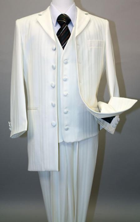 SKU#MU17071 Ivory~OFF White Long Fashion Shiny look Shadow Ton on Ton Pinstripe Vested Suit $175
