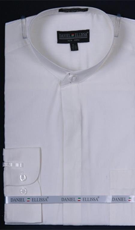 Mens Banded Collarless Dress Shirt Ivory
