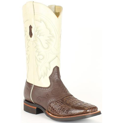 men's king exotic ivory/brown genuine smooth caiman wide square toe boots