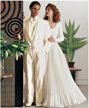 Mens Ivory ~ Cream OFF White Tailcoat Long Tuxedo Suits For Men Jacket & Pants > Wedding look Tuxedo Jacket with the tail suit